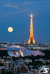 Fondation Louis Vuitton & Tour Eiffel (A.G. Photographe) Tags: anto antoxiii xiii ag agphotographe paris parisien parisian france french français europe capitale d810 nikon sigma 150600 toureiffel eiffeltower fondationlouisvuitton louisvuitton moon fullmoon pleinelune lune tourmontparnasse