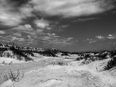 partly cloudy day at the beach (1 of 1) (Shawn Blanchard) Tags: nc northcarolina black white blackandwhite bw water beach sand sky sun sea ocean monochrome grass house clouds dunes summer coast usa united states america shore shoreline