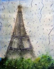 Primavera en Paris (benilder) Tags: acuarela watercolor watercolour aquarelle paisaje paris lluvia pluie rain landscape benilde gotas drops gouttes
