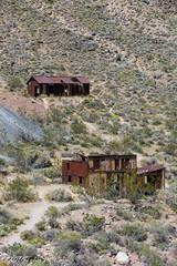Two ghost town delapitated metal buildings (taharaja) Tags: cactus california deathvalley desert furnacecreek ghosttown jeeping lowestpoint nationalpark offroad oldtown racetrack sealevel zabriskiepoint lakebed movingstones slatflats