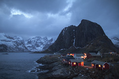 Nightfall (Joost10000) Tags: hamnoy lofoten nordland norge norway norwegen noorwegen evening nightfall dusk blue bluehour scenic mountains winter outdoors sea atlantic ocean cabin fishermanscabin beauty wild wilderness clouds canon canon5d eos ice snow red nightphotography hdr arctic dramatic light north cold water