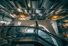 Escalating (Keoni Cabral) Tags: 10mm ceiling escalator library modern modernarchitecture sandiegodowntownlibrary wide wideangle sandiego california unitedstates us explore explored wander