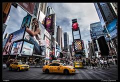 Times Square (Montse Estaca) Tags: eeuu usa estadosunidos unitedstates manhattan timessquare taxi cab yellowcab color colors pasodepeatones skyscraper grattacielo rascacielo cielo sky nubes clouds nuvole crosswalk plaza square piazza luces lights luminosos streetphotography urbanlandscape paisajeurbano fotografíaurbana street calle strada