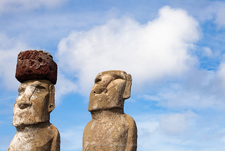 Two Moai Background. (Easter Island)