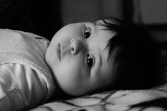 Three month birthday (gornabanja) Tags: baby infant small portrait blackandwhite blackwhite face expression expressive eyes look nikon d70 daughter family