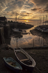 Anticipation (MarkWaidson) Tags: porlock wier harbour sunrise sky clouds boats reflections sea