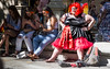 Together, alone. (DobingDesign) Tags: streetphotography gaypride2017 prideinlondon costume girls wig resting relaxing toohot