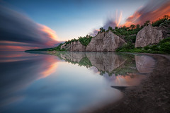 Sunset at the Bluffs II - Scarborough Ontario Canada  (Explore - Best Position #6 - July 9, 2017) (B.E.K.) Tags: sunset scarborough bluffs toronto ontario canada landscape outdoor longexposure clouds sky mirror water lake shore coast sand rock formation trees explore