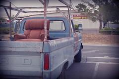 truck with chair in the back (EllenJo) Tags: pentaxk1 july 2017 ellenjo arizona verdevalley ford truck chair easychair cottonwoodarizona seenatthetractorsupply olblue bluetruck lazyboy rurallife oldtruck july2017