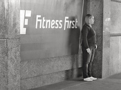 Fitness First, Smoking Second (Douguerreotype) Tags: uk gb britain british england london city urban bw blackandwhite mono monochrome people street candid smoking fitness gym health sign