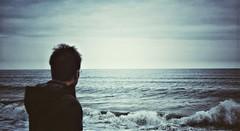 The sea (PattyK.) Tags: man sea seaside bythesea beach litochoro greece grecia griechenland europe balkans europeanunion waves snapseed λιτόχωρο ελλάδα ευρώπη θάλασσα δίπλαστηθάλασσα blue mediterranean