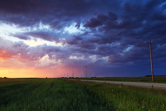 July 9 storm sunset lightning (John Andersen (JPAndersen images)) Tags: calgary canada canada150 storm barley farm road alberta clouds lightning