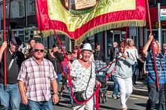Marching through Thornley (Cerdic Elesing) Tags: groupofpeople banner countydurham couple durhamminersassociation england gala kodakektar marching minersgala object thornley xequals unitedkingdom