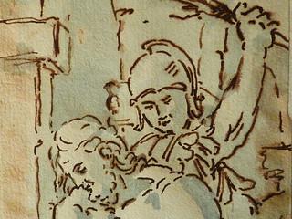 ITALIE 17e - La Flagellation du Christ (drawing, dessin, disegno-Louvre  INV17364 ter) - Detail 19