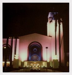 Union Station 12 (tobysx70) Tags: the impossible project tip polaroid sx70sonar sonar instant color film for sx70 type cameras impossaroid union station alameda street dtla downtown los angeles la california ca night nocturnal lit illuminated amtrak metro train rail railway railroad terminus entrance sign clock tower palms palm tree silhouette pink blue toby hancock photography