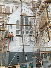 St. George's Cathedral Repairs #4 (*Amanda Richards) Tags: stgeorgescathedral cathedral guyana georgetown iphone7 repairs work menatwork greenheart lapedge shiplap tallestwoodenbuilding scaffolding hardhats gothic historic woodenbuilding