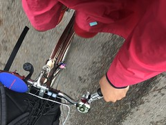 4 vancouver seasons in 1 day today: i saw cloud, rain, drizzle & sun (roland) Tags: 4seasonsin1day rain cloud sun drizzle vancouver magenta bicyclingcape bicycling bicycle schwinn bike raincape cape red