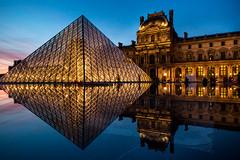 Louvre museum (PRABHU SHANKAR C) Tags: paris europe louvre museum louvremuseum monalisa prabhu prabhushankar light sky glass france canon travel beautifuldestinations night illuminated lights sunset bluesky