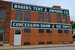 Rogers Tent & Awning Co., Fremont, NE (Robby Virus) Tags: fremont nebraska ne rogers tent awning co company repairs tents trampolines boat covers 1860 sign signage painted