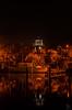 Red illuminated Lighthouse (SeSonnen) Tags: habor markenmeer monnickendam netherlands boat water longexposure night lighthouse hafen niederlande boot wasser langzeitbelichtung nacht leuchtturm see lake