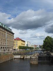 Canal lock and sky, Slussgatan, Gothenburg, Sweden (Paul McClure DC) Tags: gothenburg sweden sverige july2015 göteborg scenery historic architecture