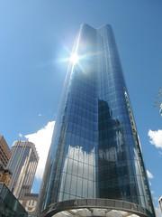 HWW YYC 2017 017 (Mr. Happy Face - Peace :)) Tags: art2017 cans2s skyscraper curtainwall windows glazing sun cloud sky reflections calgary albertabound canada alberta