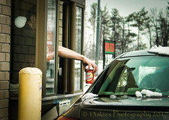 Medium Double Double (HWW) (13skies) Tags: timhortons bollard drivethrough drivethru takeout cars service coffee tea food beverages arm money pay window takeoutwindow doubledouble size morning canadian love need hww windowwednesday