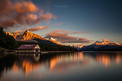 Dramatic Sunset at Maligne Lake (PIERRE LECLERC PHOTO) Tags: sunset dramatic malignelake jasper jaspernationalpark alberta canada canadianlandscapes canadianrockies rockies rockymountains mountains lake water clouds sky boathouse canoeshack reflection landscape nature wilderness outdoors naturalbeauty peaks travel roadtrip pierreleclercphotography atmosphere moody dreamscape canon5dsr
