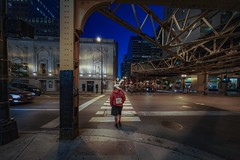 Walking (karinavera) Tags: travel sonya7r2 chicago view building architecture city urban street loop transport people
