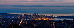 Burnaby Mountain Panoramic (Sworldguy) Tags: vancouver sunset cityscape citylights burnabymountain skyline sky outdoor seaside dusk landscape mountains clouds above nikon nightscene d7000 dslr downtown port vancouverharbour westcoast pacificnorthwest shipyard wideangle waterfront britishcolumbia tourism burnaby panorama panoramic