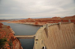 Glen Canyon Dam (Vee living life to the full) Tags: nikond300 2017 holiday travel tourism tourist placestovisit traveller pleasure usa architecture sheer drop mountains skyline horizon transport bridge travelling driving map location water sky cloud clouds blue picture view glencanyondam girders arch concrete distance colorado lake powell