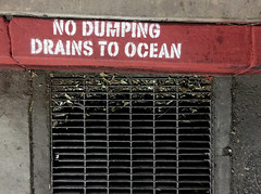 No Dumping Drains to Ocean (cowyeow) Tags: valencia santaclarita grill drain drains ocean pollution american sign funny funnysign street odd losangeles california us usa city urban painted curb road sea flow drainage sewer