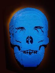 Blue Skull from Skulls by Lego artist Nathan Sawaya (mharrsch) Tags: skull blue lego sculpture art nathansawaya artofthebrick exhibit omsi oregonmuseumscienceandindustry oregon mharrsch