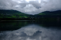 Voss - Norway (einarsoyland) Tags: fuji fujifilm x100f velvia jpeg sooc adobe lightroom green lake reflection reflections clouds cloudscape