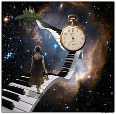 Stepping out... (PaulO Classic. ©) Tags: photoshop picmonkey surreal fantasy keyboard space time imagination watch castle stars