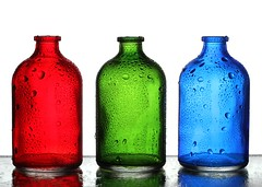 RGB (Karen_Chappell) Tags: red green blue bottle glass three 3 rgb waterdrops stilllife white colourful multicoloured colours bottles