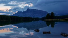 Reflection of Mount Rundle in Two Jacks Lake (krystyna p) Tags: twojackslake alberta canada sony travel vacation summer september 2016 reflexion mirrorimage evening cloud clouds mountain rockies national park banff banffnationalpark wieczór góry chmury lato rock rocks kamienie tree trees rundle mountrundle