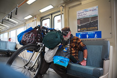 loaded up (n.a.) Tags: california usa man tramp hobo bike handlebars bags bart bay area rail transit transportation bicycle