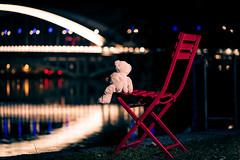 This is freedom (ElmerstarK) Tags: chair ours chaise climb street nuit red strobist contrast escape outside bokeh bear night rue exterieur lumière teddy rouge light lyon auvergnerhônealpes france fr