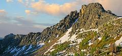 Amphitheater Mountain from Cathedral Pass, Pasayten Wilderness (i8seattle) Tags: pasayten pasaytenwilderness cathedrallake cathedralpeak amphitheatermountain irongatetrailhead toatscouleeroad larch windypeak uppercathedrallake cathedralpass