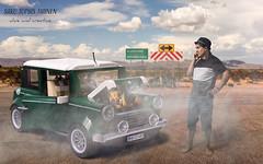 Overheating (ajastaika) Tags: lego mini car overheating hot fire smoke composite photoshop digital art digitalart illustration minicooper legocar funny fantasy imagination aliveandcreative
