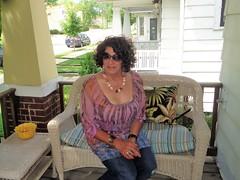Pardon Me For The Exposed Bra (Laurette Victoria) Tags: jeans curly sunglasses brunette porch woman laurettet necklace