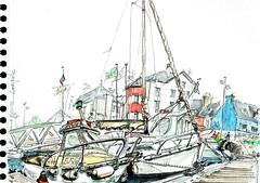 USK Lorient 2017, dimanche, Locmiquelic (Croctoo) Tags: croctoo croquis croctoofr port lorient bateaux aquarelle watercolor