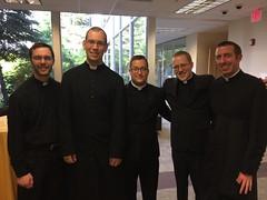 Five new priests – all graduates of St. Mark Seminary: Fr. Luke Uebler (Buffalo), Fr. David Whiteford (Erie), Fr. Sean Kerins (Erie), Fr. Kyle Seyler (Erie), and Fr. Peter Crowe (Altoona-Johnstown) – June 2017