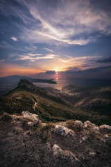 The view over Volterraio and Portoferraio (Manuel.Martin_72) Tags: italy elba lightdrama magic enchanting hills hilly green grass rocks stones trees woods sea clouds glow evening sunset i