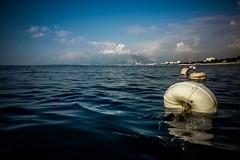 First time out to the line (Melissa Maples) Tags: antalya turkey türkiye asia 土耳其 apple iphone iphone6 cameraphone mediterranean sea water konyaaltızero beach summer mountains clouds white floats floaties blue