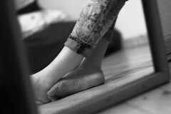 Feet (mayasokou) Tags: feet foot barefoot skin bnw bw blackandwhite photography body berlin girl woman toes jeans flower black white bwphotography bnwphotography womensfeet mirror indoor shooting fus füse nackt naked people human legs vintage feel