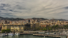 Barcelona (BAN - photography) Tags: city harbour yachts riverwalk buildings architecture barcelona trees churches cranes d810 boats masts water