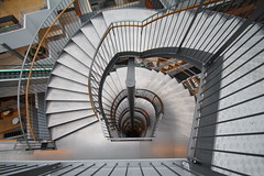 Silver stairs (Elbmaedchen) Tags: staircase treppenauge silber silver stairs stufen roundandround downstairs bi