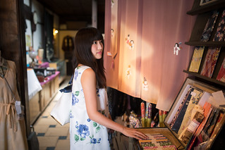 Young woman shopping in traditional Japanese retail store